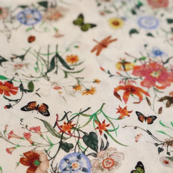 Amanda Christensen pocket square parrots cream silk butterfly fabric