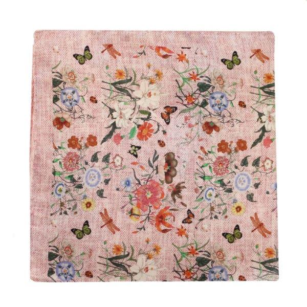 Amanda Christensen pocket square parrots cream silk butterfly pink