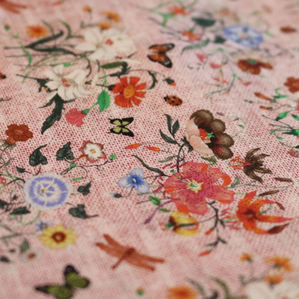 Amanda Christensen pocket square parrots cream silk butterfly pink fabric