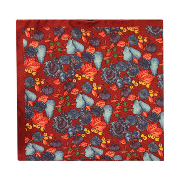 Amanda Christensen pocket square pears and figs red
