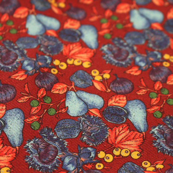Amanda Christensen pocket square pears and figs red fabric
