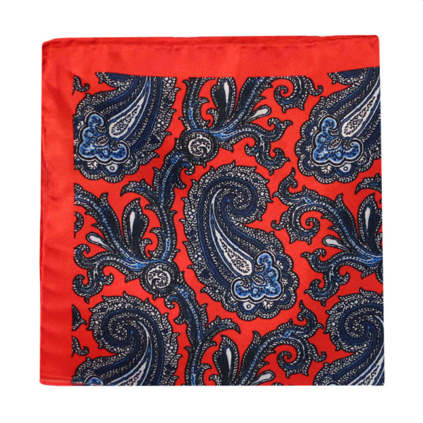 Amanda Christensen pocket square red 4 pattern silk 1