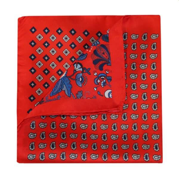 Amanda Christensen pocket square red 4 pattern silk 2a