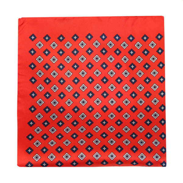Amanda Christensen pocket square red 4 pattern silk 4