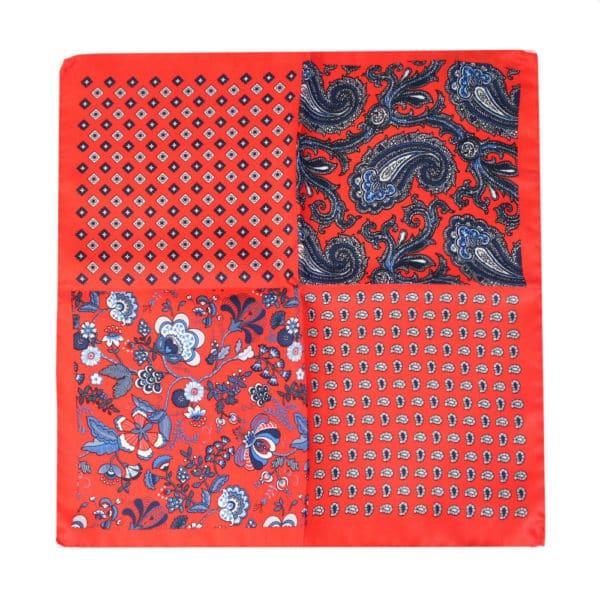 Amanda Christensen pocket square red 4 pattern silk all sides