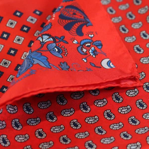 Amanda Christensen pocket square red 4 pattern silk fabric