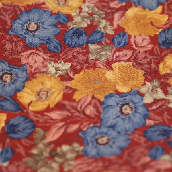 Amanda Christensen pocket square red flowers fabric