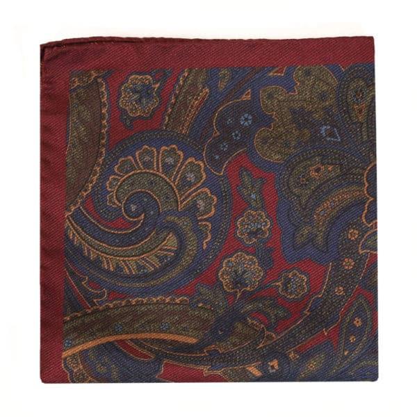 Amanda Christensen pocket square red silk indian