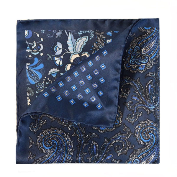 Amanda Christensen pocket square silk navy 4 side 4