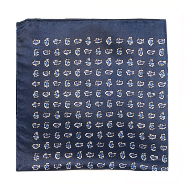 Amanda Christensen pocket square silk navy 4 sided 1