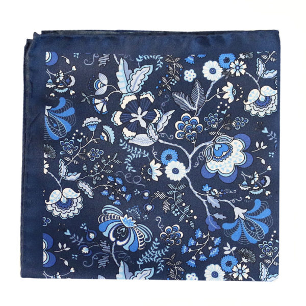 Amanda Christensen pocket square silk navy 4 sided 3