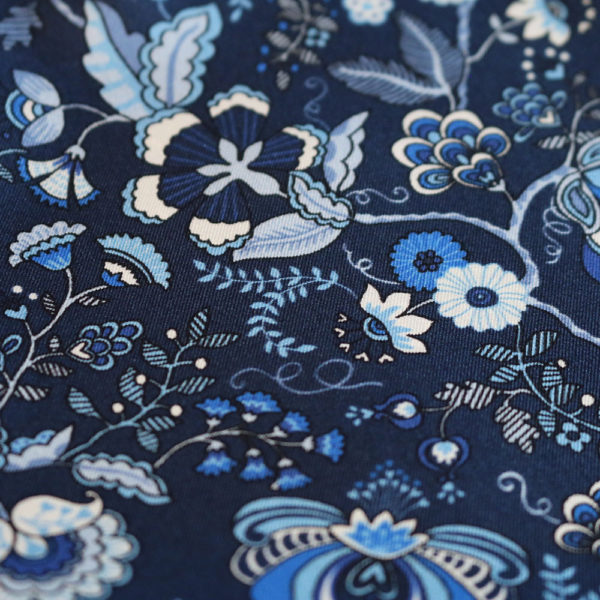 Amanda Christensen pocket square silk navy 4 sided 3 fabric