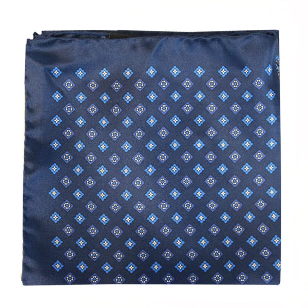 Amanda Christensen pocket square silk navy 4 sided 4