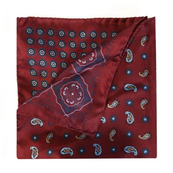 Amanda Christensen pocket square silk red 4 sided 1