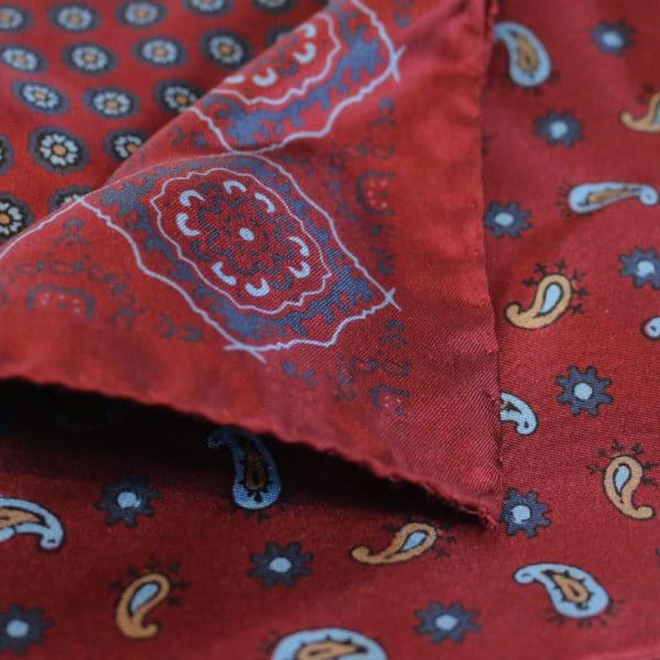 Amanda Christensen pocket square silk red 4 sided fabric