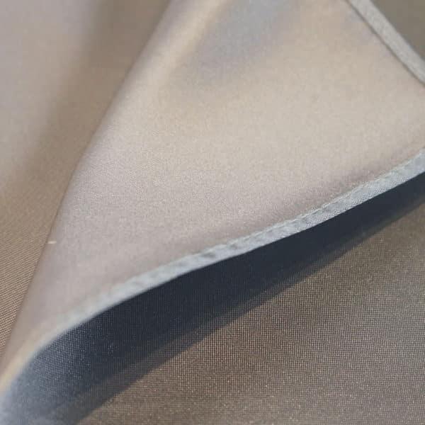 Amanda Christensen pocket square silver silk fabric