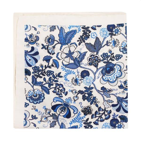 Amanda Christensen pocket square white 4 pattern silk 4