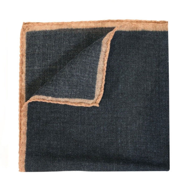 Amanda Christensen pocket square wool black rimmed