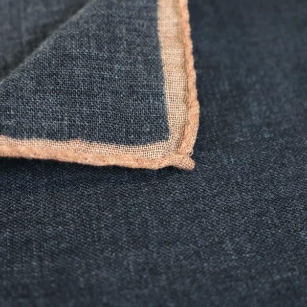 Amanda Christensen pocket square wool black rimmed fabric