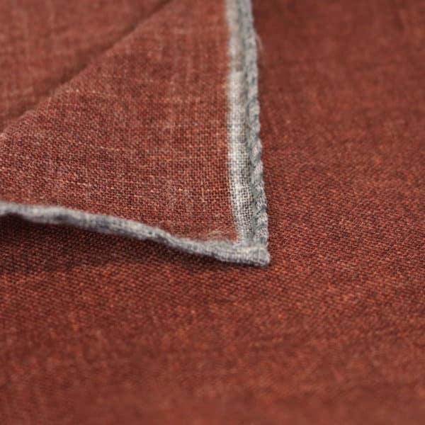 Amanda Christensen pocket square wool rust fabric