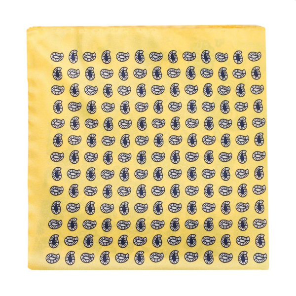 Amanda Christensen pocket square yellow 4 pattern silk 1