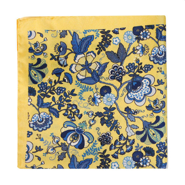 Amanda Christensen pocket square yellow 4 pattern silk 4
