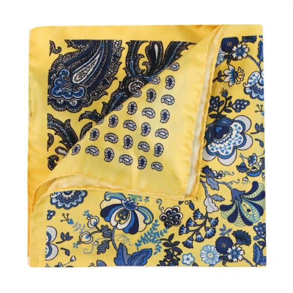 Amanda Christensen pocket square yellow 4 pattern silk 4a
