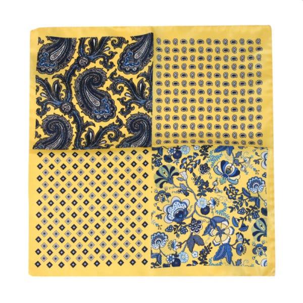 Amanda Christensen pocket square yellow 4 pattern silk all sides