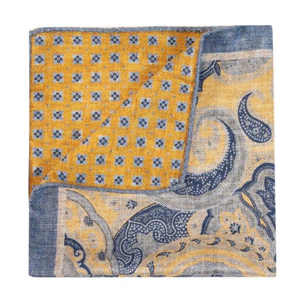 Amanda Christensen pocket square yellow blue 2 sided