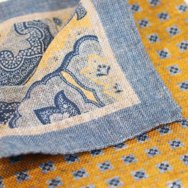 Amanda Christensen pocket square yellow blue 2 sided fabric