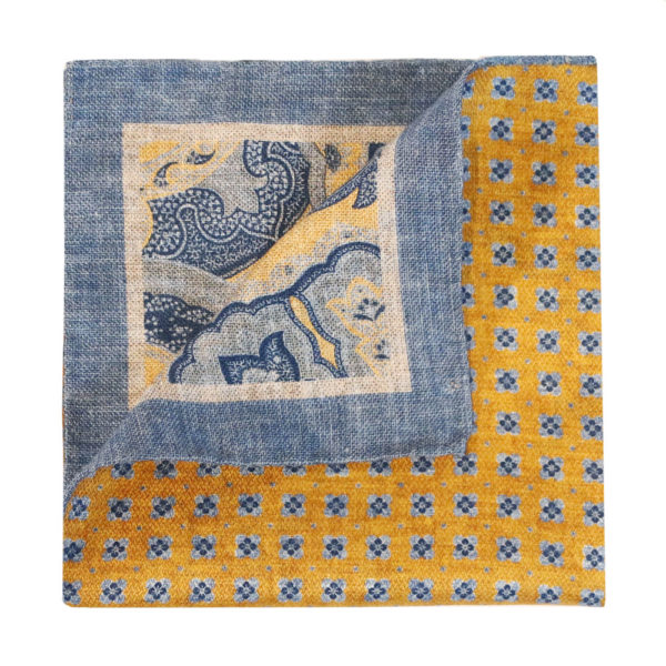 Amanda Christensen pocket square yellow blue 2 sidedb