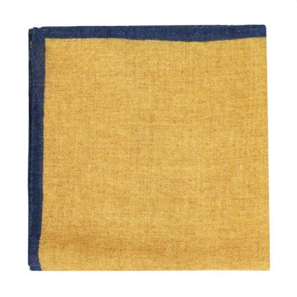 Amanda Christensen pocket square yellow blue rim linen