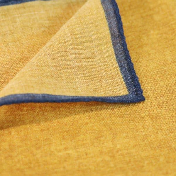 Amanda Christensen pocket square yellow blue rim linen fabric