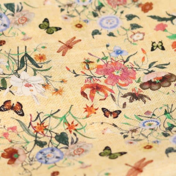 Amanda Christensen pocket square yellow silk butterfly fabric