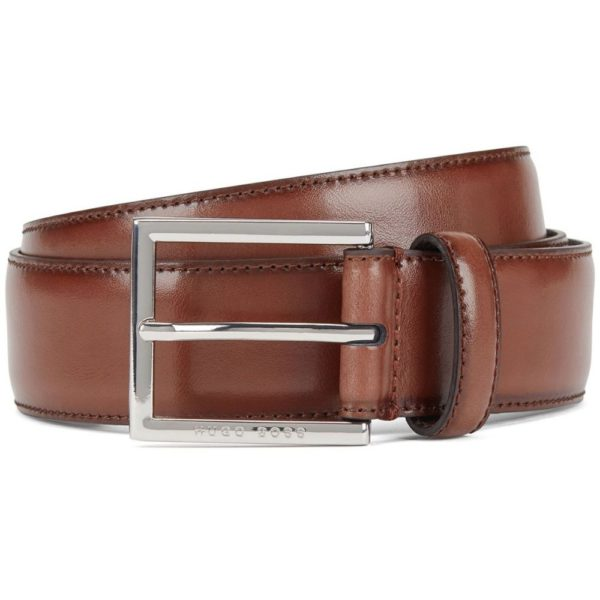 BOSS Canzio burnished leather belt brown
