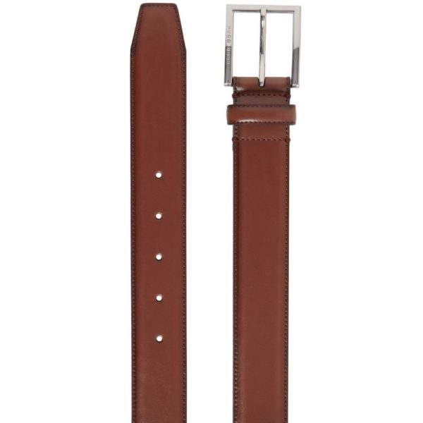 BOSS Canzio burnished leather belt brown detail