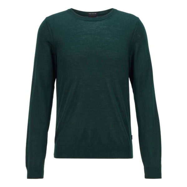 BOSS Crew neck Virgin Wool Green Sweater