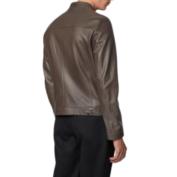 BOSS Leather jacket brown back