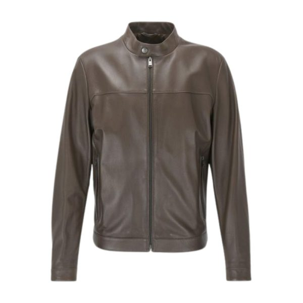 BOSS Leather jacket brown front