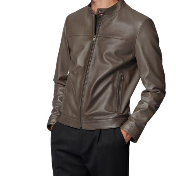 BOSS Leather jacket brown side