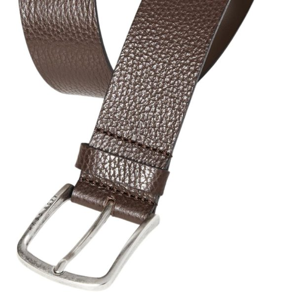 BOSS Sander grain leather belt brown detail