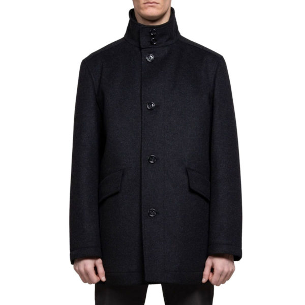 BOSS WOOL CASHMERE BLEND COAT IN CHARCOAL back