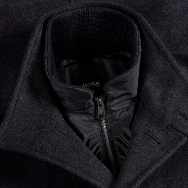 BOSS WOOL CASHMERE BLEND COAT IN CHARCOAL collar