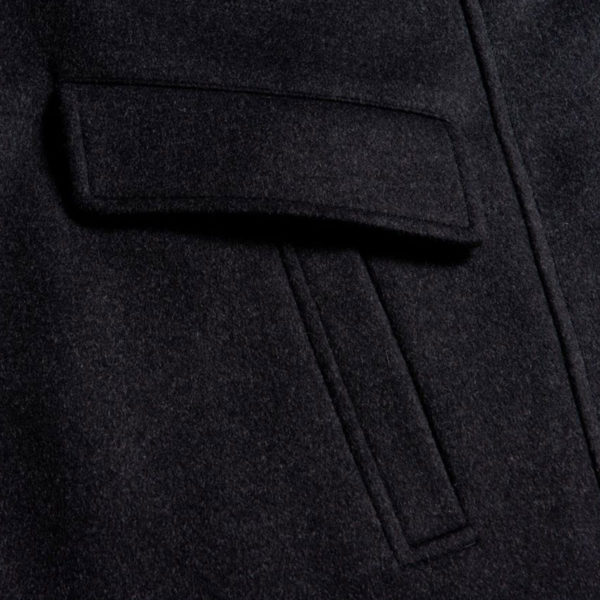 BOSS WOOL CASHMERE BLEND COAT IN CHARCOAL detail