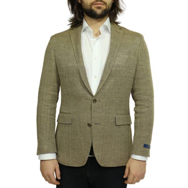 Blazer jacket silk linen herringbone tan
