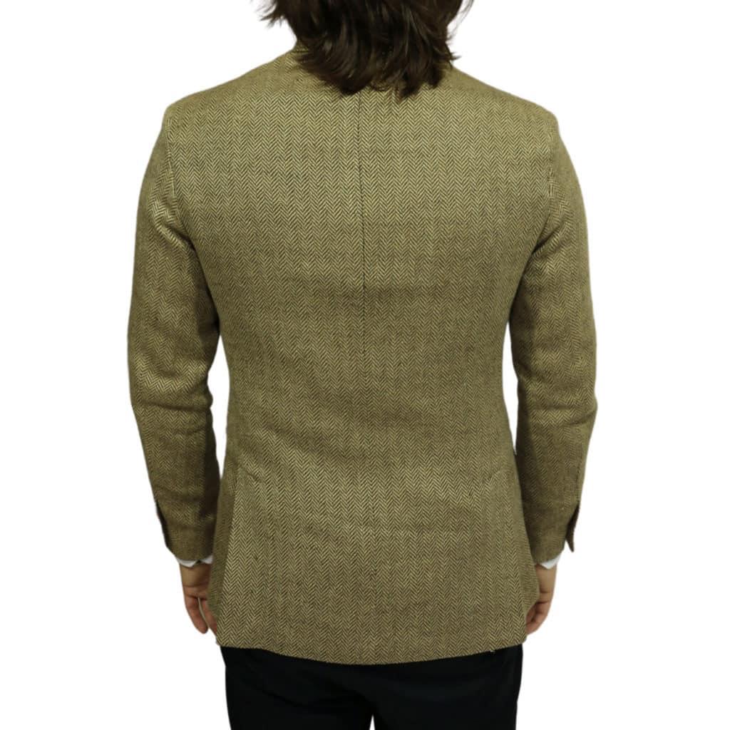 Blazer jacket silk linen herringbone tan back