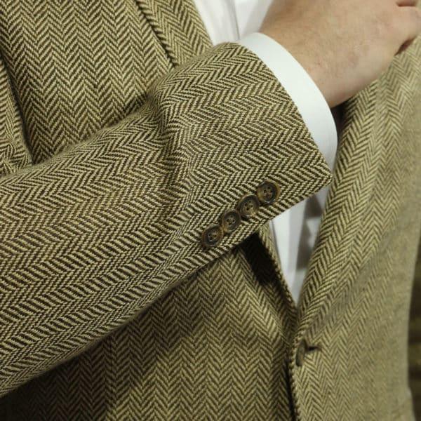 Blazer jacket silk linen herringbone tan cuff buttons