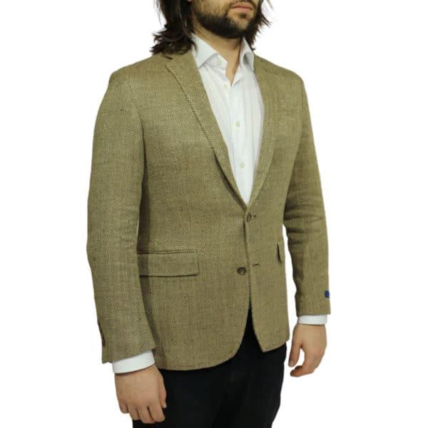 Blazer jacket silk linen herringbone tan side