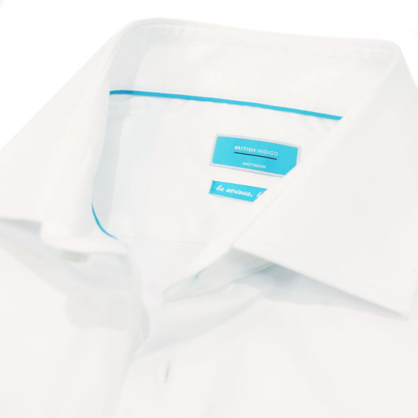 British Indigo modern fit white shirt collar