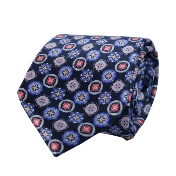 Canali Decorative Pattern Tie blue